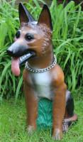 Deko Garten Figur Dekofigur Gartenfigur Tierfigur großer Schäferhund mit Kette aus Kunststoff H 69cm