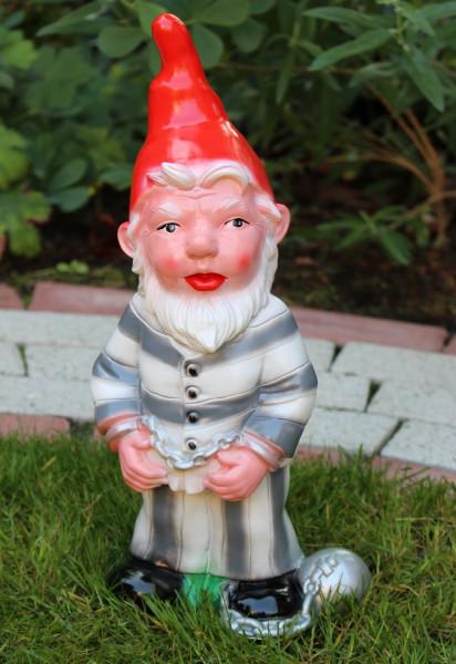 Gartenzwerg als Gefangener Sträfling Knasti Figur Zwerg H 36 cm Dekozwerg Gartenfigur aus Kunststoff