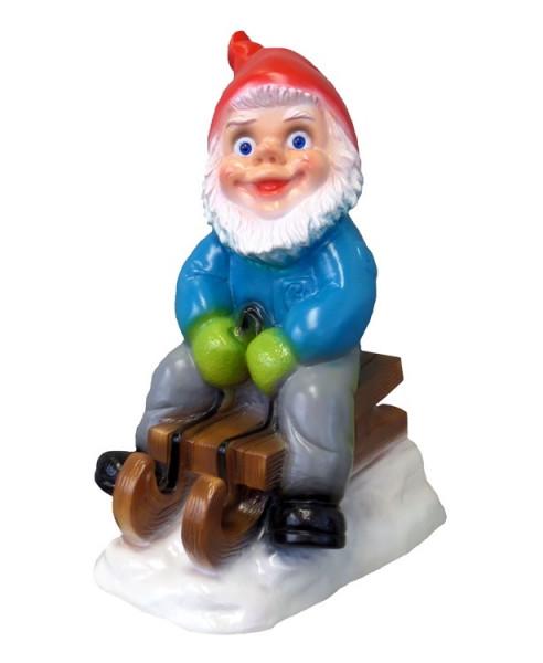 Gartenzwerg mit Schlitten Figur Zwerg H 33 cm Winterdekoration Winter Deko aus Kunststoff