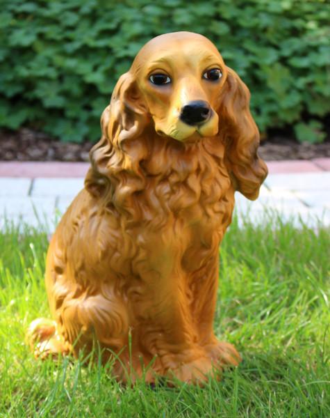 Deko Figur Hund Cocker Spaniel H 32 cm Dekofigur Gartenfigur Tierfigur aus Kunstharz