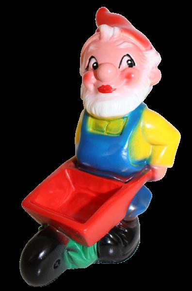 Gartenzwerg mit Schubkarre Figur Zwerg H 18 cm Gartenfigur aus Kunststoff