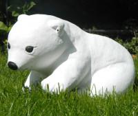 Beton Figur kleiner Eisbär H 19 cm Dekofigur und Gartenfigur