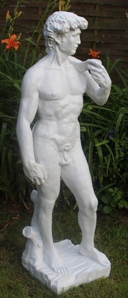 Deko Statue Skulptur David von Michelangelo stehend weiß H 110 cm Männerakt Gartenskulptur Kunstharz