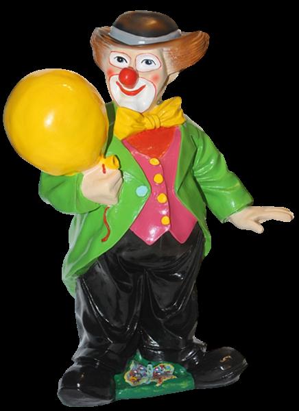 Dekorationsfigur Zirkus Clown stehend mit Ballon H 60 cm Deko Figur aus Kunstharz