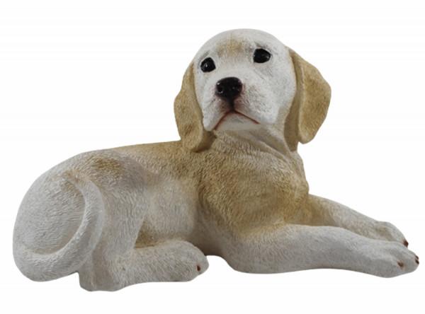 Deko Figur Labrador Retriever Welpe Hundefigur liegend seitlich Kollektion Castagna aus Resin H 17cm