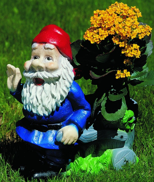 Gartenzwerg stehend mit Pflanzkarre Figur Zwerg H 34 cm Gartenfigur aus Kunststoff