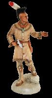 Indianerfigur Black Hawk Häuptling Indianer Fox stehend H 23 mit Tomahawk Castagna Limited Edition