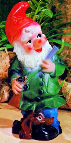 Gartenzwerg als Jäger Figur Zwerg H 30 cm Gartenfigur aus Kunststoff