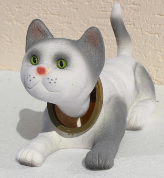 Wackel Figur Katze hell grau Wackelfigur H 15 cm groß liegend Dekofigur mit Wackelkopf