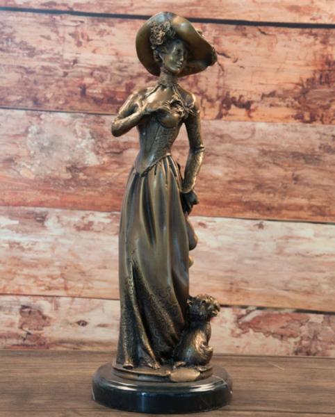 Bronzefigur Bronzeskulptur Bronze Frau im Jugendstil H 33 cm Art nouveau Figur Dekofigur Skulptur