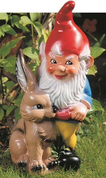 Gartenzwerg mit Hase und Karotte Figur Zwerg H 45 cm Gartenfigur aus Kunststoff