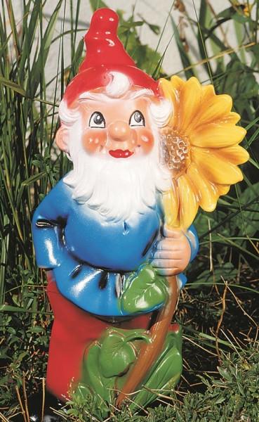 Gartenzwerg mit Sonnenblume Figur Zwerg H 41 cm Gartenfigur aus Kunststoff