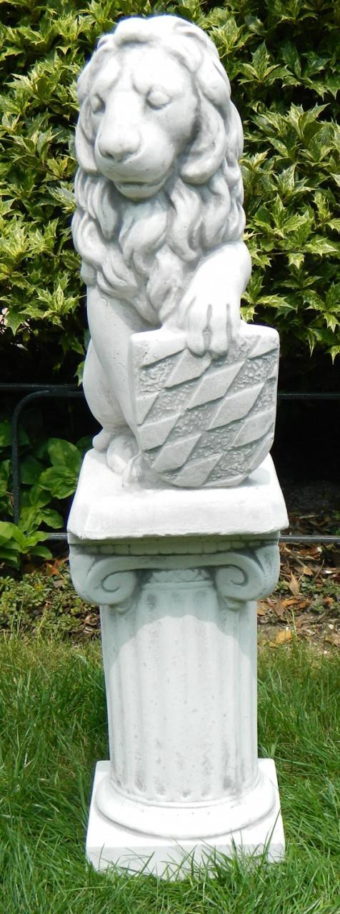 Garten-figur Statue Garten-deko Stein-figur Buddha mit Säule in Terrakotta