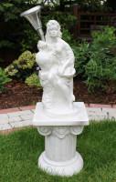 Deko Figur Statue Frau Fruttina auf Säule H 80 cm LED Solar Leuchte klassische Skulptur Kunststoff