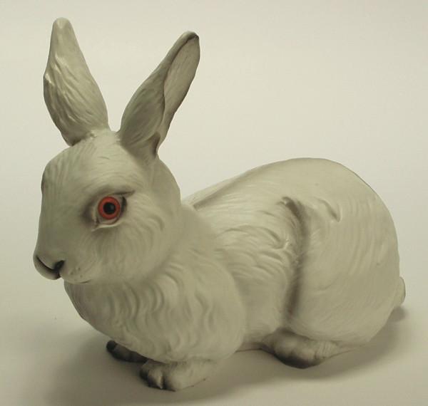 Deko Figur Hase weiß H 21 cm Gartenfigur Dekofigur aus Kunststoff