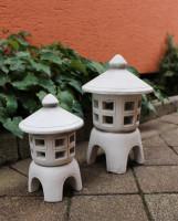 Beton Figuren japanische Laternen H 23/32 cm 2-er Satz 2-teilig für Teelicht geeignet