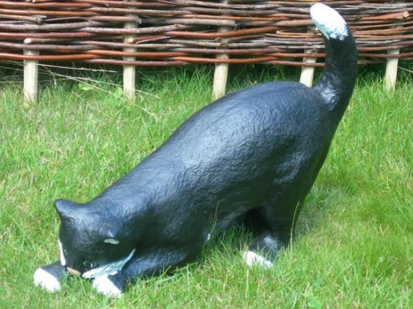 Dekorationsfigur Katze H 43 cm Tierfigur aus Kunstharz