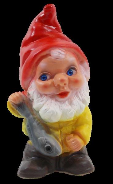 Deko Figur Zwerg H 19 cm Gartenzwerg mit Fisch stehend Gartenfigur aus Kunststoff