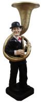 Deko Figur Komiker Doof mit Tuba H 95 cm Dekofigur Musiker Stan Laurel aus Kunstharz