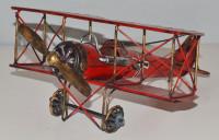Blechflugzeug Nostalgie Modellflugzeug Oldtimer Marke Fokker Doppeldecker Flugzeug aus Blech L 29 cm