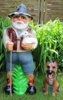 Deko Garten Figur Dekofigur Gartenfigur Tierfigur Hirte mit Schäferhund aus Kunststoff H 86 cm