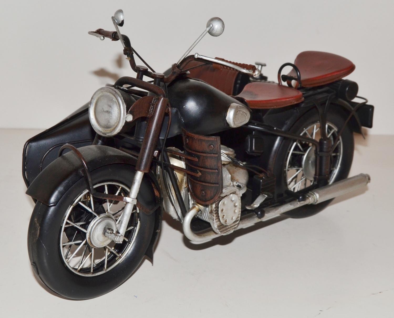 Nostalgie Motorrad Beiwagen Blechfahrzeug Sammlerstück Retro 13 x30 x21cm NEU s.