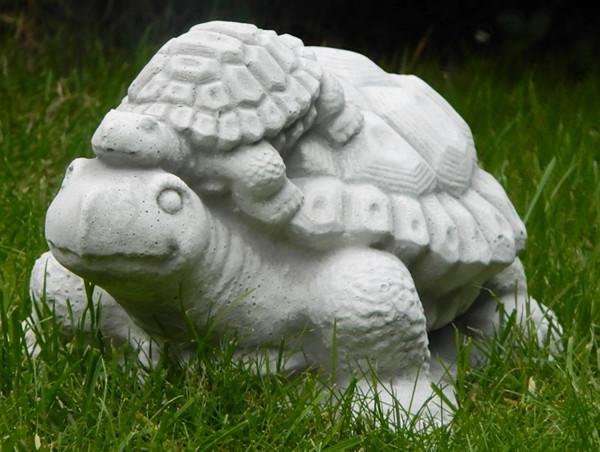 Beton Figur Schildkröte mit Nachwuchs H 13 cm Dekofigur und Gartenfigur