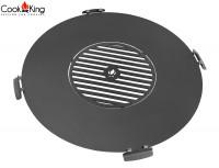 Grillplatte für Feuerschale Ø 102 cm mit Grillrost 50 cm und 4 Griffen Platte zum Grillen aus Stahl