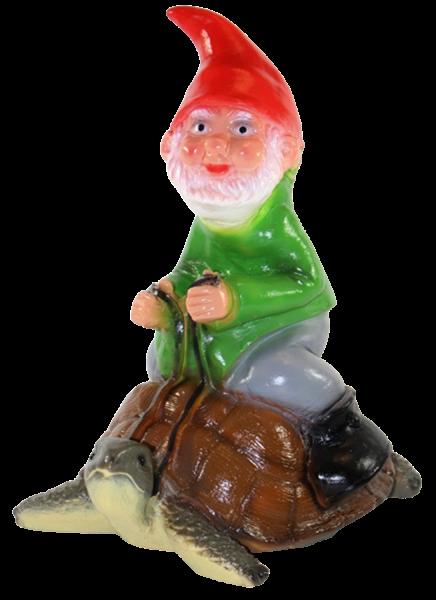 Deko Figur lustiger Zwerg H 29 cm Spaß Gartenzwerg auf Schildkröte Gartenfigur aus Kunststoff