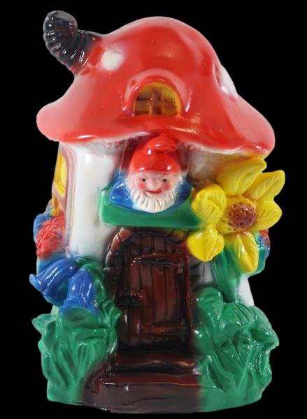 Gartenzwerg Deko Figur Zwergenhaus aus Pilz H 29 cm Gartenfigur aus Kunststoff