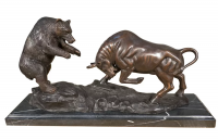 Bronzefigur Bronzeskulptur Tierfigur Bulle und Bär aus Bronze auf Marmorsockel B 43 cm Deko Figur
