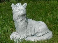 Beton Figur Yorkshire Terrier H 24 cm liegend Dekofigur und Gartenfigur
