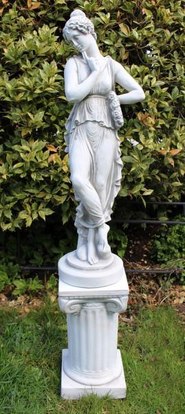 Beton Deko Figuren Statuen antike Frau auf ionischer Säule Dekofiguren und Gartenskulpturen