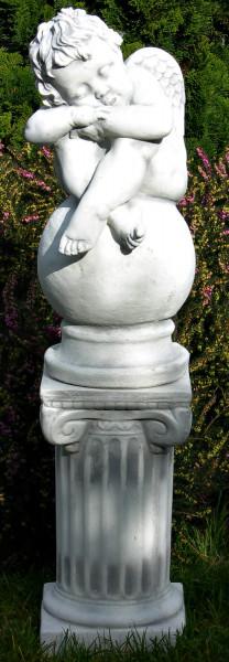 Beton Figuren Statue Engel schlafend auf ionischer Säule H 76 cm Dekofiguren und Gartenskulpturen