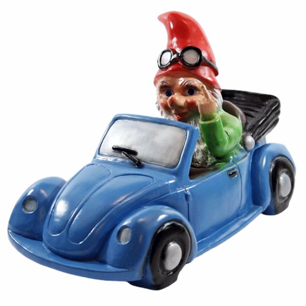 Deko Figur Zwerg H 23 cm Gartenzwerg im Auto mit Stinkefinger Gartenfigur aus Kunststoff