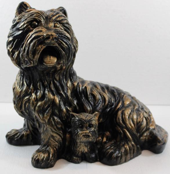 Deko Figur West Terrier Gartenfigur sitzend H 28 cm Dekofigur Kupfer-Antik aus Kunststoff