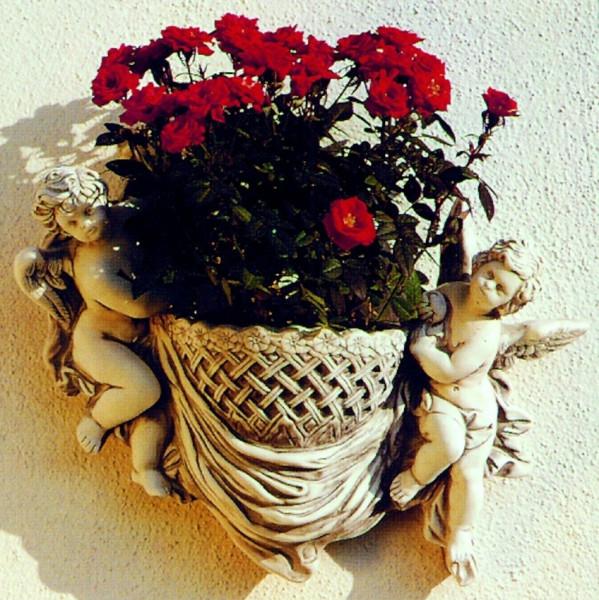 Deko Figur Pflanzgefäß Modell Cestino H 38 cm zwei Engel mit Pflanzkorb Dekofigur