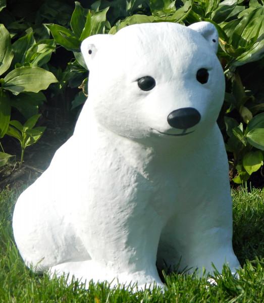 Beton Figur kleiner Eisbär H 24 cm Dekofigur und Gartenfigur