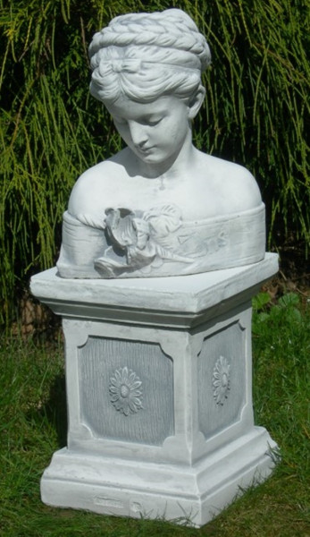 Beton Figuren Skulptur Statue Büste Iris auf klassischer Säule H 54 cm Dekofiguren und Gartenskulptu