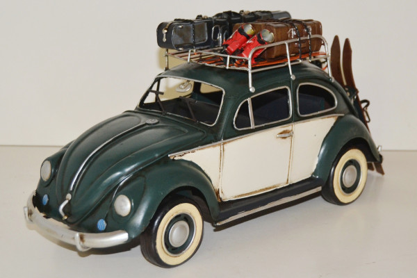 Blechauto Nostalgie Modellauto Oldtimer VW Käfer Modell 1950er Jahre mit Dachgepäck aus Blech L 35cm