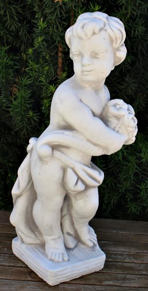 Beton Figur Statue Skulptur Putte stehend Vierjahreszeiten Frühling H 49 cm Dekofigur Gartenskulptur
