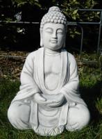 Beton Figur Buddha sitzend H 34 cm Dekofigur und Gartenskulptur
