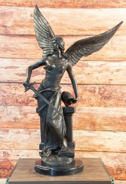 Bronzefigur Bronzeskulptur Engel mit Schwert auf Marmorsockel H 74 cm Figur Dekofigur Skulptur