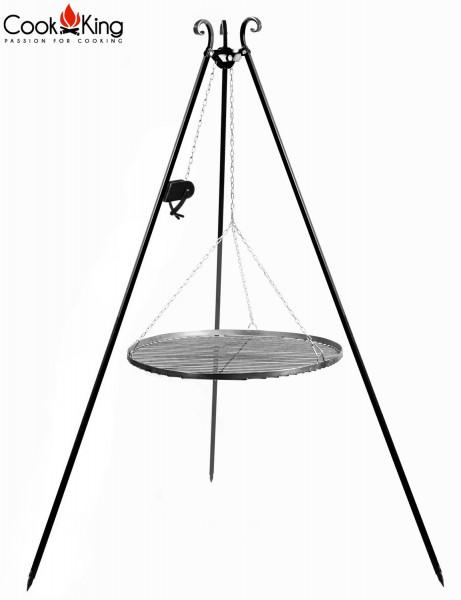 Dreibein mit Kurbel H 180 cm mit Grillrost Ø 50 cm aus Rohstahl Schwenkgrill Grill Grillständerre