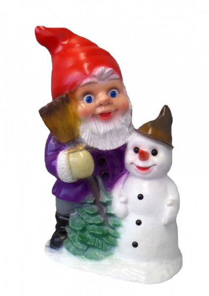 Gartenzwerg mit Schneemann Figur Zwerg H 33 cm Winterdekoration aus Kunststoff