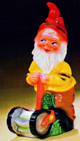 Gartenzwerg mit Rasenmäher Figur Zwerg H 48 cm Gartenfigur aus Kunststoff