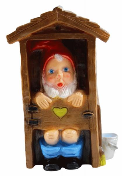 Deko Figur Spaß Zwerg H 29 cm Gartenzwerg im WC-Häuschen Gartenfigur aus Kunststoff
