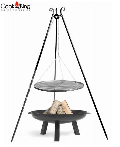 """Set: Dreibein H 180 cm mit Grillrost Ø 70 cm aus Rohstahl + Feuerschale """"Polo"""" Ø 80 cm Grillen"""