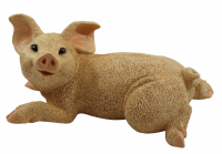 Dekofigur Tierfigur Schwein Ferkel Schweinchen liegend natur Kollektion Castagna aus Resin H 10 cm