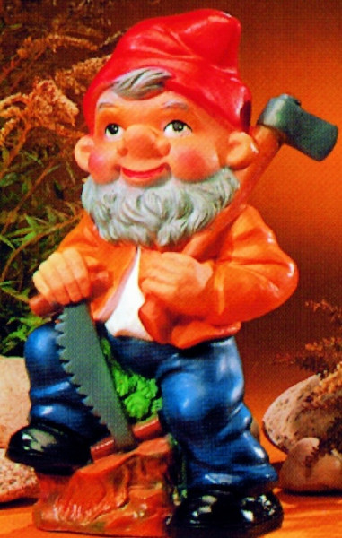Gartenzwerg als Holzfäller Figur Zwerg H 34 cm Gartenfigur aus Kunststoff